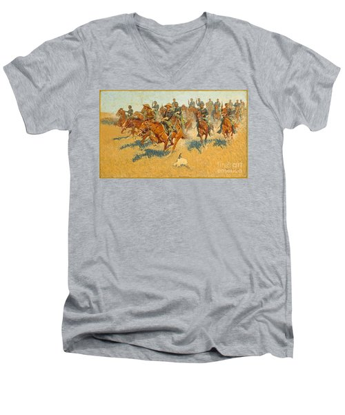 Men's V-Neck T-Shirt featuring the photograph On The Southern Plains Frederic Remington by John Stephens