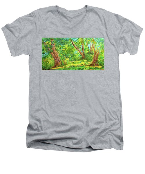 Men's V-Neck T-Shirt featuring the painting On The Path by Susan D Moody