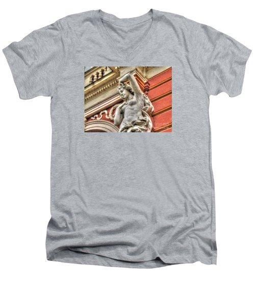 On The Wall Sit Men's V-Neck T-Shirt by Yury Bashkin