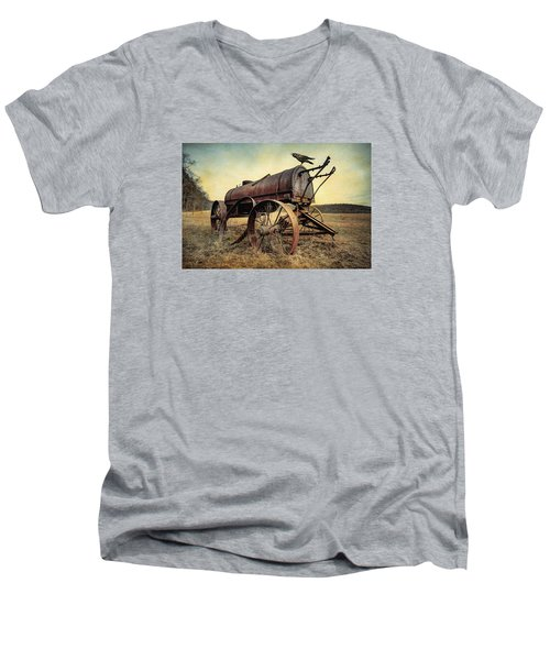 Men's V-Neck T-Shirt featuring the photograph On The Water Wagon - Agricultural Relic by Gary Heller