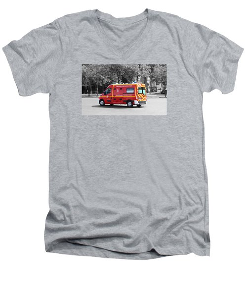 Men's V-Neck T-Shirt featuring the photograph On The Way To Help by RKAB Works