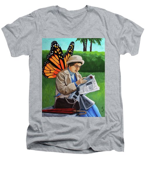 On Vacation -butterfly Angel Painting Men's V-Neck T-Shirt by Linda Apple