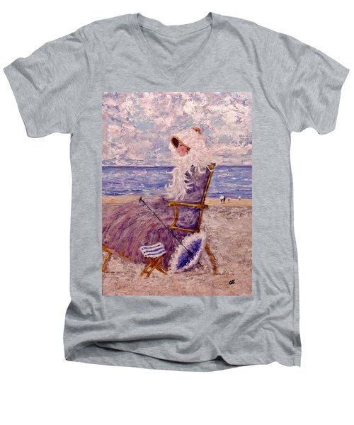Men's V-Neck T-Shirt featuring the painting Once Upon A Time II by Cristina Mihailescu