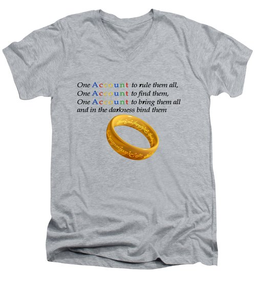 One Account To Rule Them All Men's V-Neck T-Shirt by Ilan Rosen
