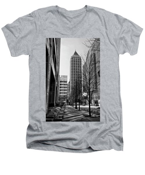 One Atlantic Center In Black And White Men's V-Neck T-Shirt