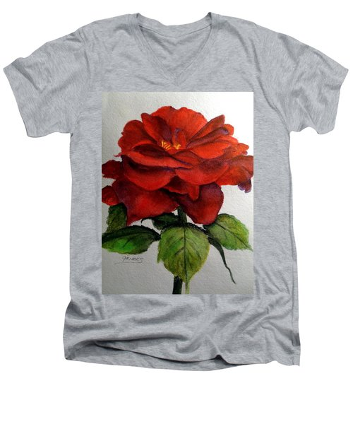 One Beautiful Rose Men's V-Neck T-Shirt by Carol Grimes