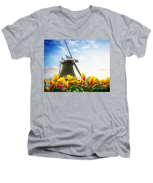 One Dutch Windmill Over  Tulips Men's V-Neck T-Shirt