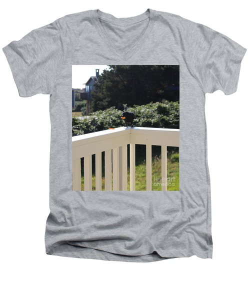 Men's V-Neck T-Shirt featuring the photograph One In The Mouth Is Worth by Marie Neder