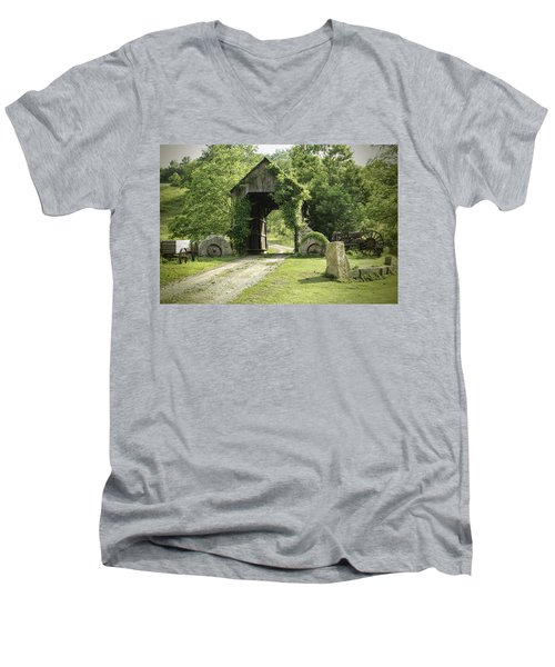 One Lane Covered Bridge Men's V-Neck T-Shirt