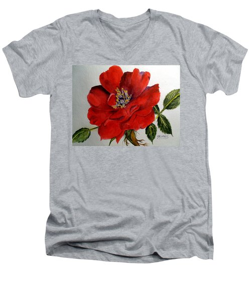 One Lone Wild Rose Men's V-Neck T-Shirt by Carol Grimes