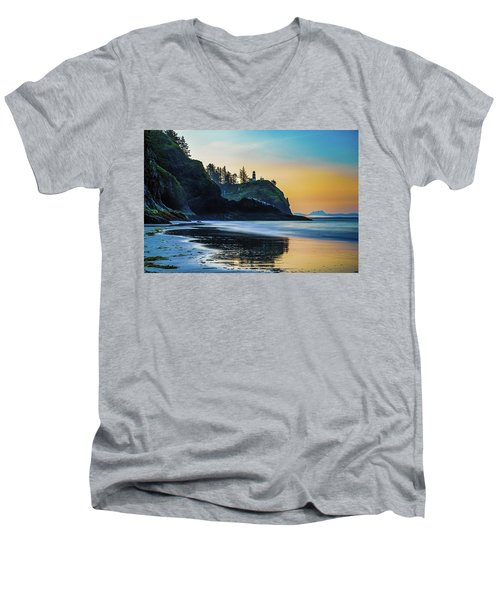 One Morning At The Beach Men's V-Neck T-Shirt by Ken Stanback
