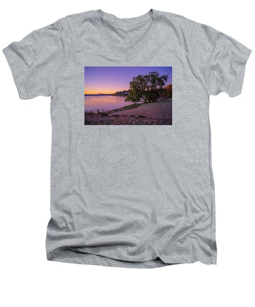One Morning At The Lake Men's V-Neck T-Shirt by Ken Stanback