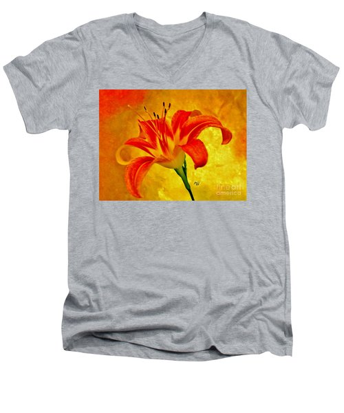 Men's V-Neck T-Shirt featuring the photograph One Tigerlily by Marsha Heiken