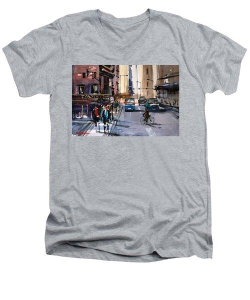 One Way Street - Chicago Men's V-Neck T-Shirt by Ryan Radke