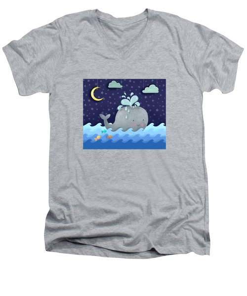 One Wonderful Whale With Fabulous Fishy Friends Men's V-Neck T-Shirt by Little Bunny Sunshine