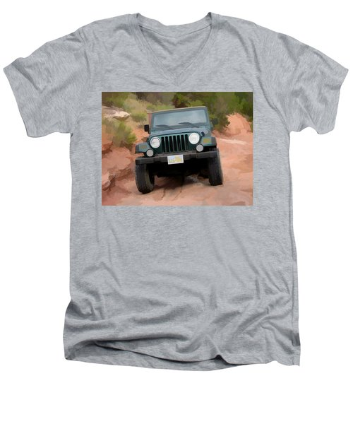 Men's V-Neck T-Shirt featuring the digital art Only Jeeps Here by Gary Baird