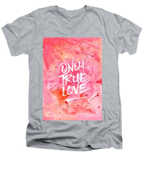 Only True Love Handpainted Abstract Watercolor Red Pink Orange Men's V-Neck T-Shirt