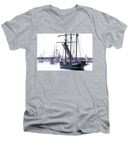 Men's V-Neck T-Shirt featuring the photograph Oosterschelde Leaving Port by Stephen Mitchell
