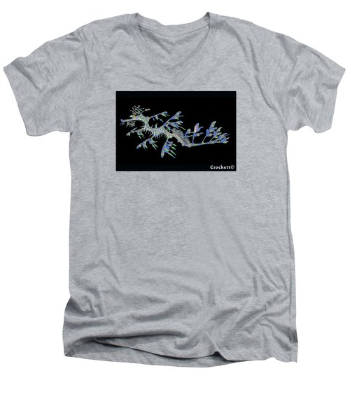 Men's V-Neck T-Shirt featuring the photograph Opalised Sea Dragon by Gary Crockett