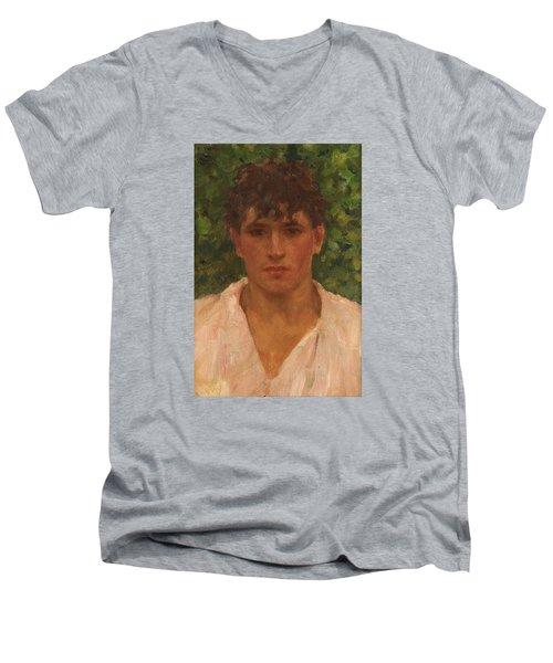Open Collar Men's V-Neck T-Shirt by Henry Scott Tuke