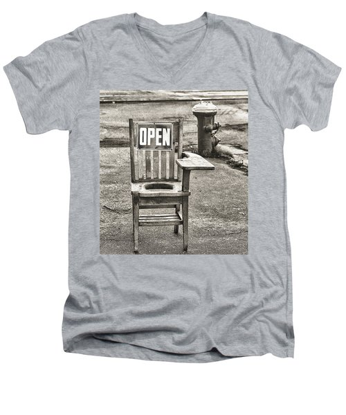 Open Men's V-Neck T-Shirt by Jeffrey Jensen