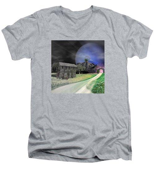 Open Portal Men's V-Neck T-Shirt by Ally  White
