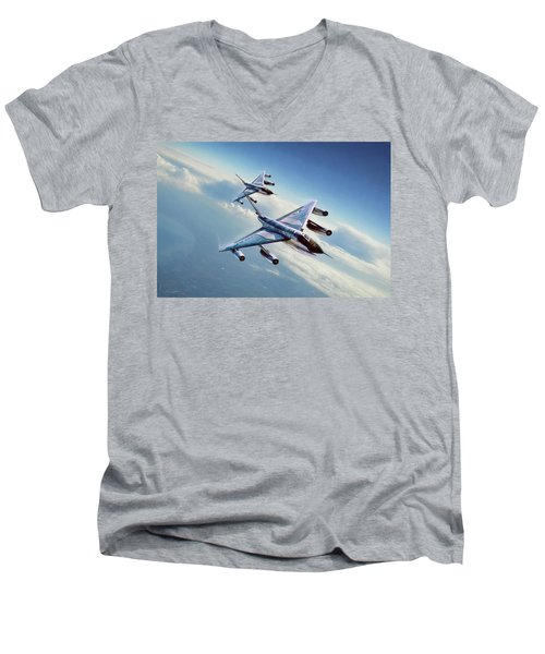 Men's V-Neck T-Shirt featuring the digital art Operation Heat Rise by Peter Chilelli