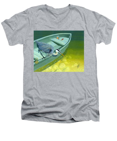 Opportunity-the Great Blue Heron Men's V-Neck T-Shirt by Gary Giacomelli