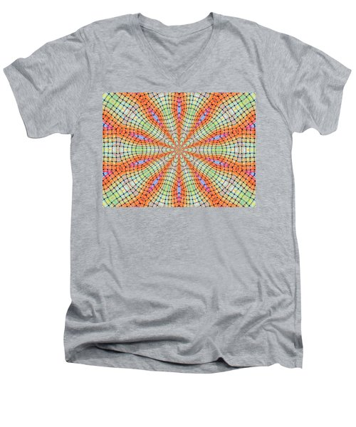 Men's V-Neck T-Shirt featuring the digital art Orange And Green by Elizabeth Lock