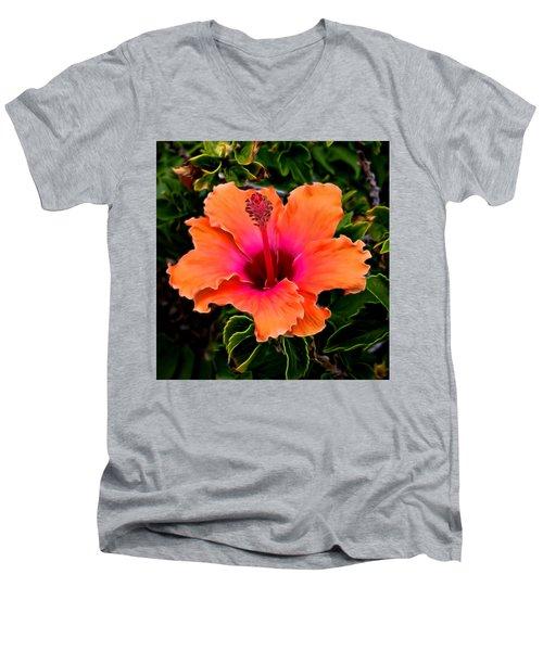 Orange And Pink Hibiscus 2 Men's V-Neck T-Shirt