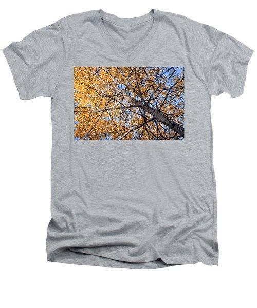 Orange Autumn Tree. Men's V-Neck T-Shirt by Teemu Tretjakov