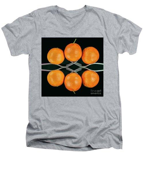 Orange Balance Men's V-Neck T-Shirt by Shirley Mangini