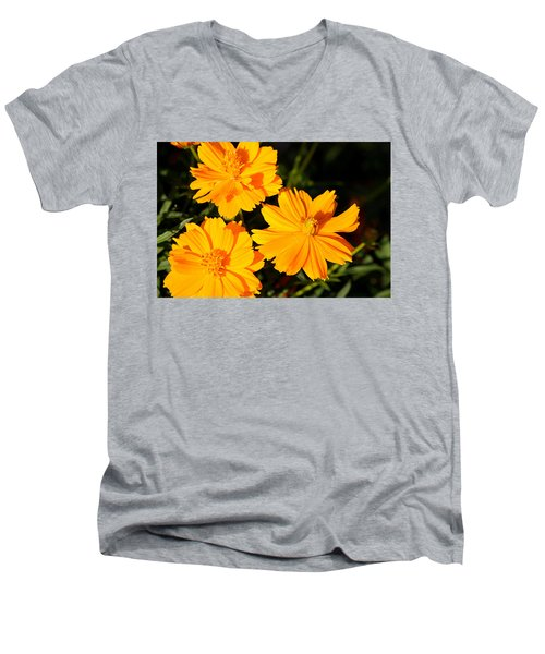Men's V-Neck T-Shirt featuring the photograph Cosmos Trio by Sheila Brown