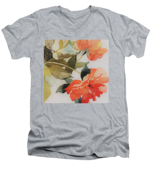 Men's V-Neck T-Shirt featuring the painting Orange Blossom Special by Elizabeth Carr