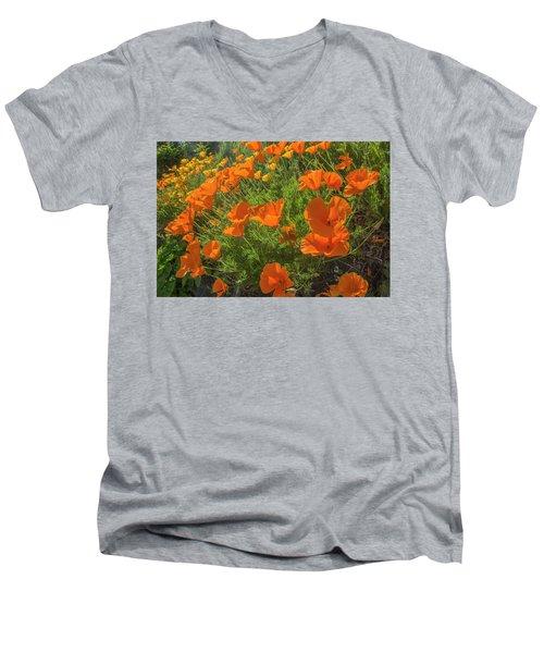 Orange Burst Men's V-Neck T-Shirt