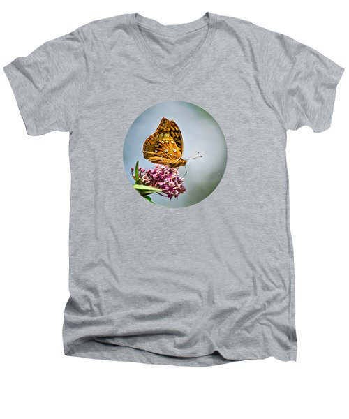 Men's V-Neck T-Shirt featuring the photograph Orange Butterfly by Christina Rollo