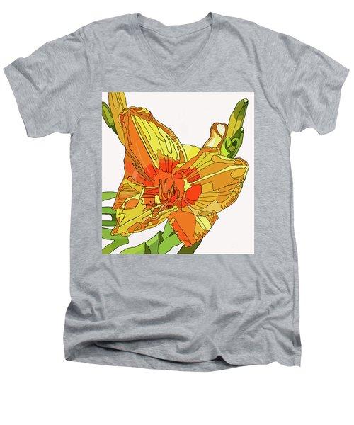 Orange Canna Lily Men's V-Neck T-Shirt by Jamie Downs