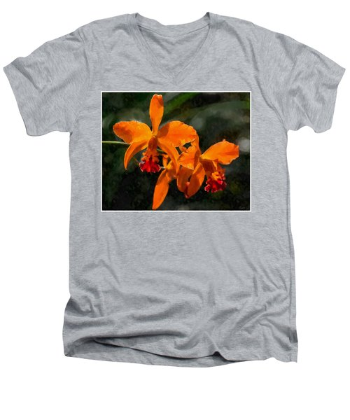 Orange Cattleya Orchid Men's V-Neck T-Shirt by Kai Saarto