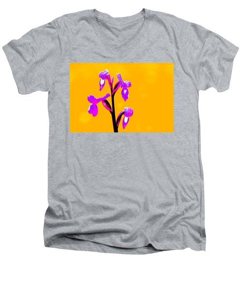Orange Champagne Orchid Men's V-Neck T-Shirt