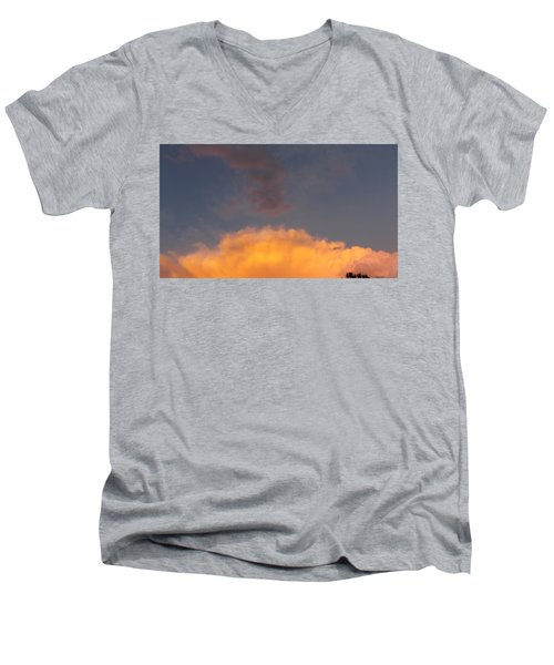 Orange Cloud With Grey Puffs Men's V-Neck T-Shirt by Don Koester