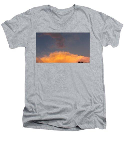 Orange Cloud With Grey Puffs Men's V-Neck T-Shirt