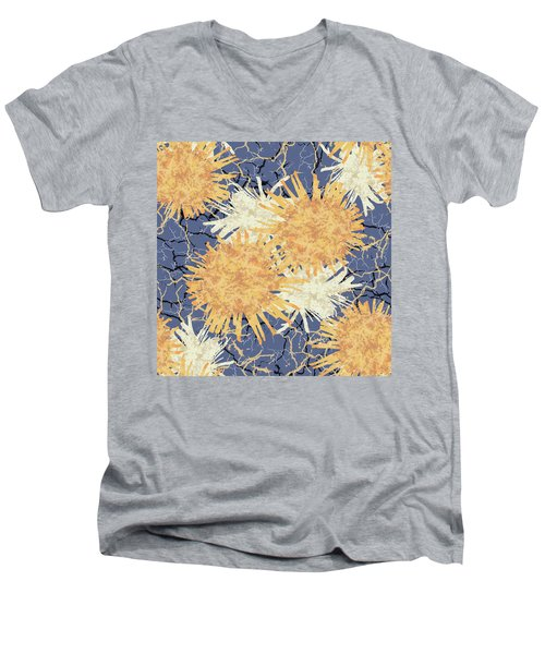 Orange Cobwebs Pattern Men's V-Neck T-Shirt