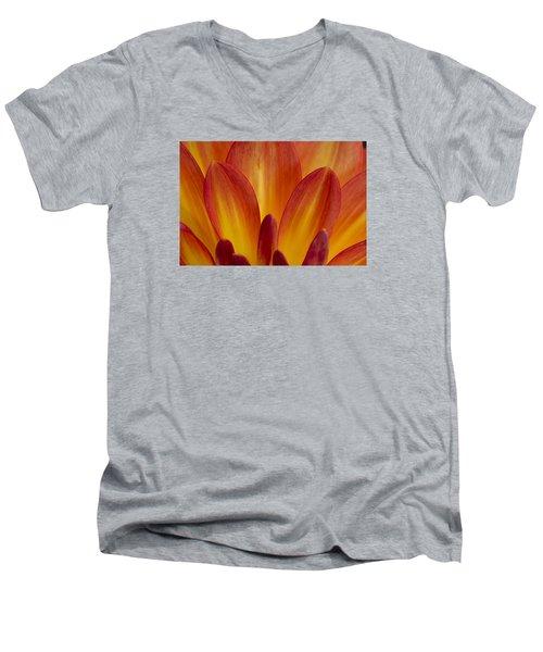 Orange Dahlia Petals Men's V-Neck T-Shirt