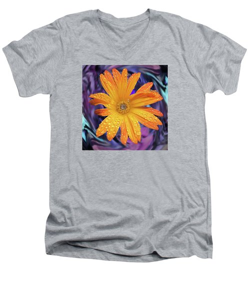 Orange Daisy Swirl Men's V-Neck T-Shirt