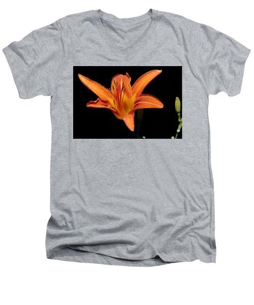Orange Day-lily Men's V-Neck T-Shirt