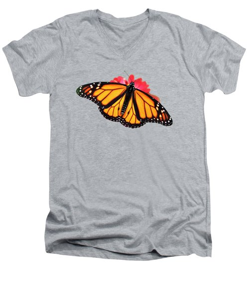 Men's V-Neck T-Shirt featuring the photograph Orange Drift Monarch Butterfly by Christina Rollo