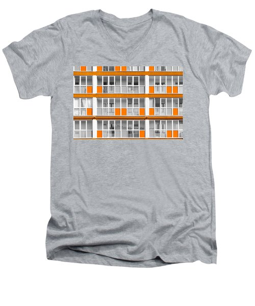 Orange Exterior Decoration Details Of Modern Flats Men's V-Neck T-Shirt