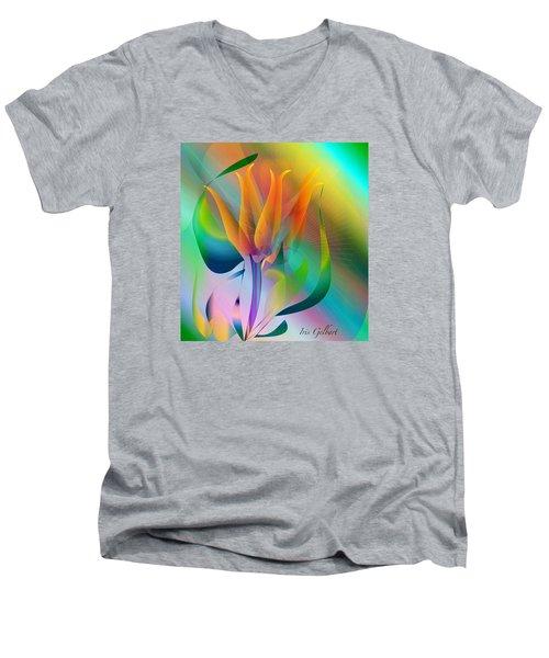 Orange Flower Men's V-Neck T-Shirt by Iris Gelbart