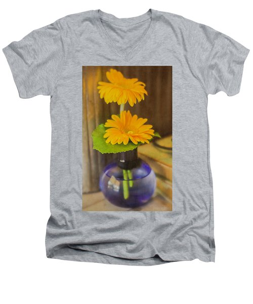Orange Flowers Blue Vase Men's V-Neck T-Shirt