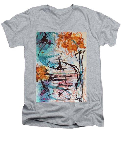 Orange Flowers In Vase Men's V-Neck T-Shirt